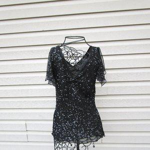 Silk Beaded Black Blouse Size Medium